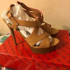 Guess Shoes - GUESS Danten Open Toe Leather Platform Heel